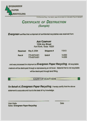 Destruction Certificate